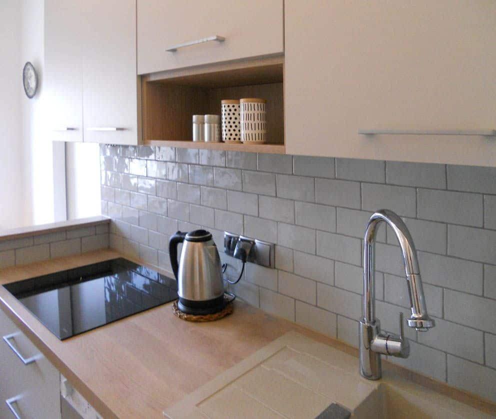 projektowanie wnętrz z wykonaniem, projekt blat kuchenny w mieszkaniu na Grochowie