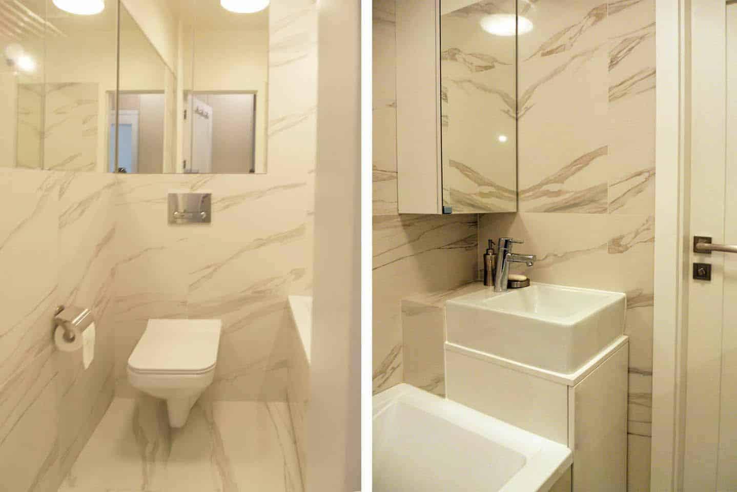 projektowanie wnętrz z wykonaniem, projekt łazienki w mieszkaniu 52 metrowym na Grochowie