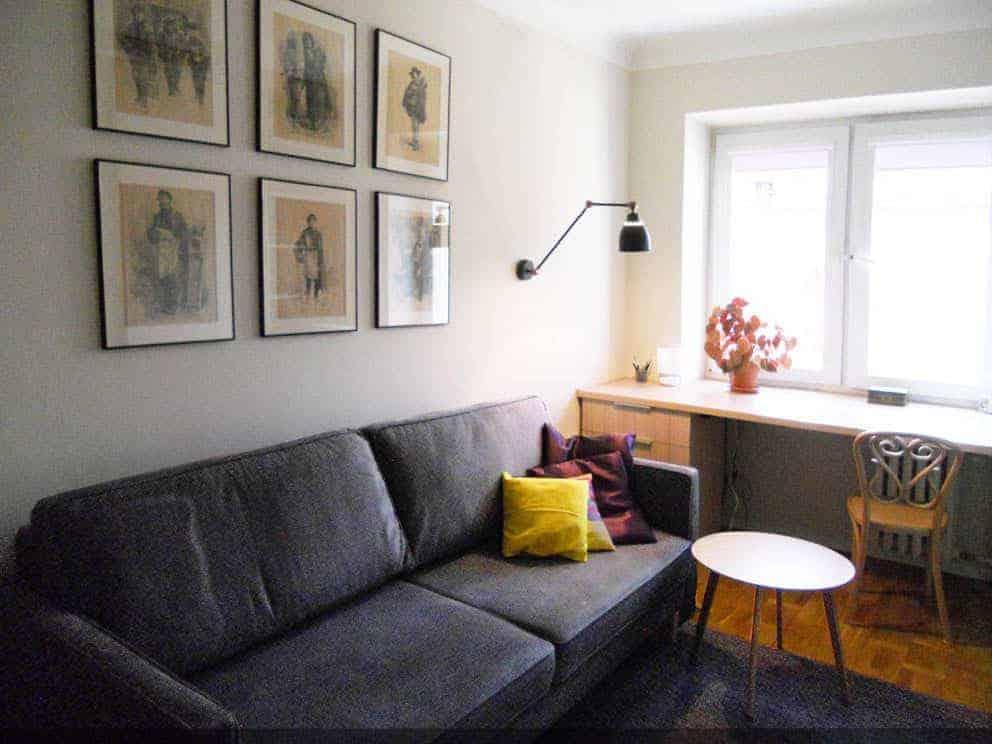 projektowanie wnętrz z wykonaniem, projekt salon kanapa i biurko w mieszkaniu na Grochowie