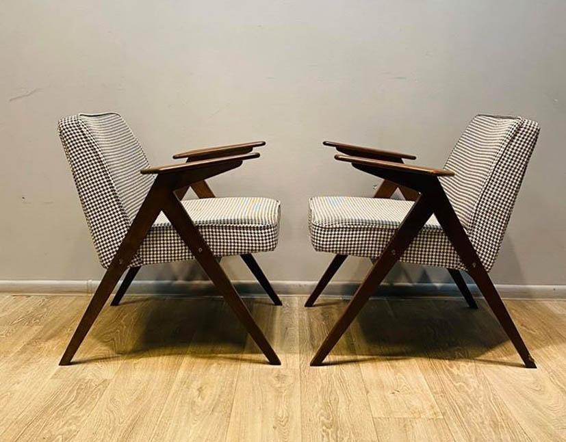 """Para foteli """"Bunny"""" proj. J. Chierowski vintage PRL 60'"""